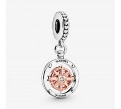 Charm Pendant Boussole Club Pandora 2020 en Argent 925/1000 et PANDORA Rose 788590C01