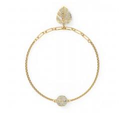 Bracelet Strand Swarovski Remix Collection Tropical Leaf, blanc, métal doré 5528850