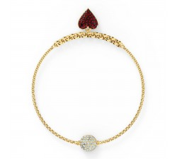 Bracelet Strand Swarovski Remix Collection Heart, rouge, métal doré 5535344