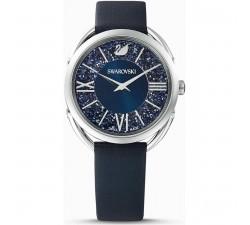 Montre Crystalline Glam, bracelet en cuir, bleu, acier inoxydable Swarovski 5537961