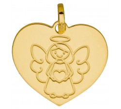 Médaille coeur ange petite fille or jaune 375/1000 by Stauffer