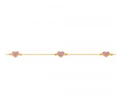 Bracelet 3 coeurs laque pailletée rose or jaune 375/1000 by Stauffer