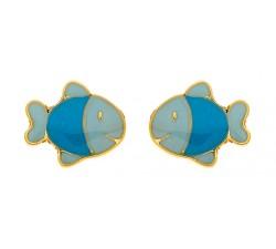 Boucles d'oreilles poissons or jaune 375/1000 et laque by Stauffer