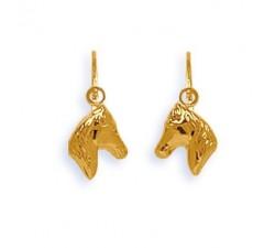 Boucles d'oreilles dormeuses tête de cheval or jaune 375/1000 by Stauffer