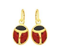 Boucles d'oreilles dormeuses coccinelles or jaune 375/1000, laque by Stauffer