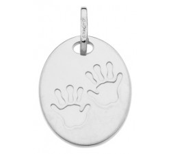 Pendentif empreintes de mains or gris 375/1000 by Stauffer