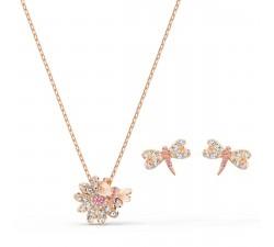 Parure Collier et boucles d'oreilles Eternal Flower Dragonfly, rose, métal doré rose Swarovski 5518141