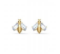 Boucles d'oreilles Eternal Flower Bee, blanc, métal doré Swarovski 5518143