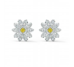 Boucles d'oreilles clous Eternal Flower, jaune, finition mix de métal Swarovski 5518145