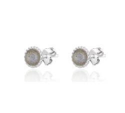 Boucles d'oreilles puces ALOHA Agatha - Labradorite - Argent 925/1000 - 02320941-149-TU