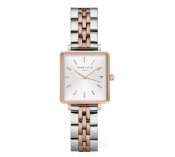 Montre femme ROSEFIELD The boxy XS blanc sunray - argent doré rose 33 mm QMWSSR-Q024