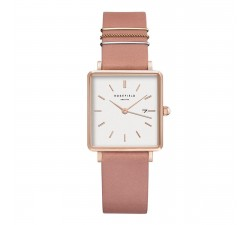 Montre femme ROSEFIELD The boxy blanc rose - or rose 33 mm QOPRG-Q026