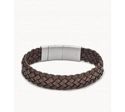Bracelet homme cuir tressé et acier FOSSIL JF02933040