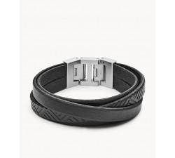 Bracelet homme cuir noir texturé FOSSIL JF02998040