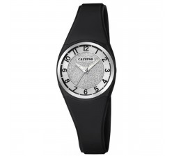 Montre Calypso Bracelet Silicone Noir Boitier Aluminium Noir K5752/6