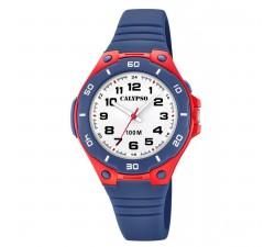 Montre Calypso SWEET TIME Bracelet Silicone Bleu Boitier Résine Rouge Garçon K5758/1