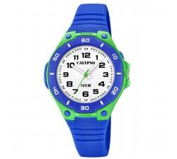 Montre Calypso K5758-5 - SWEET TIME Bracelet Silicone Bleu Boitier Résine Bleu Garçon K5758/5