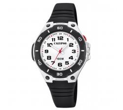 Montre Calypso SWEET TIME Bracelet Silicone Noir Boitier Résine Noir Garçon K5758/6