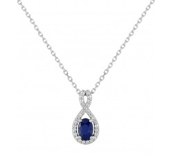 Collier or gris 375/1000, saphir bleu et oxydes de zirconium by Stauffer