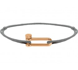 Bracelet acier PVD rose, cordon coton Mila ROCHET B25692500