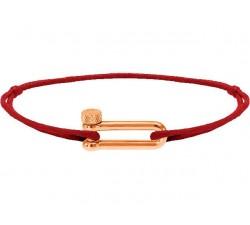 Bracelet acier PVD rose, cordon coton Mila ROCHET B25692505