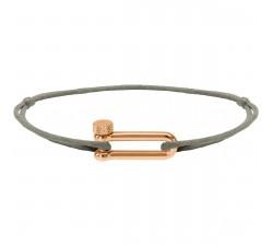 Bracelet acier PVD rose, cordon coton Attachante ROCHET B25692540