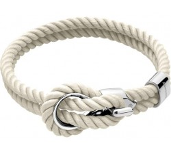 Bracelet NAVIGATEUR Acier et Cordon Coton Blanc 7mm ROCHET B3208002