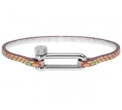Bracelet Acier/Cuir MILA 3mm Finition Acier Cuir Rose ROCHET B34600510M