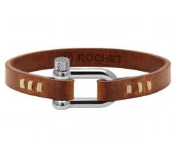 Bracelet AVIATEUR 26mm Acier et Cuir Gold 9mm couture sellier écru ROCHET B80601104L