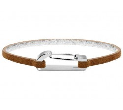 Bracelet KIM Acier Poli avec Oxyde/Cuir Velours Gold 3mm ROCHET BO25601004M