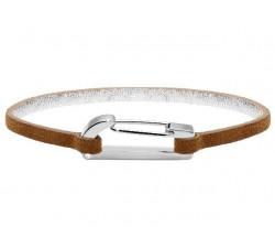 Bracelet KIM Acier Poli avec Oxyde/Cuir Velours Gold 3mm ROCHET BO25601004S