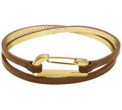 Bracelet KIM PVD Jaune avec Oxyde/Cuir Gold Mat 3mm double tour ROCHET BO25670104DTS