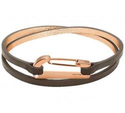 Bracelet KIM PVD Rose avec Oxyde/Cuir Taupe Mat 3mm Double Tour ROCHET BO25690140DTM