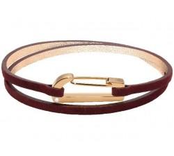 Bracelet KIM PVD Rose + Oxyde/Cuir Velours Bordeaux 3mm Double Tour ROCHET BO25691007DTM