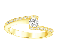 Bague or jaune 750/1000 et diamants by Stauffer