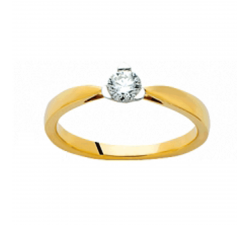 Bague or jaune et or gris 750/1000 et diamant 0,15 carat by Stauffer