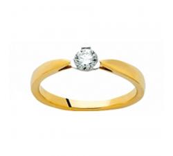 Bague or jaune et or gris 750/1000 et diamant 0,15 carat by Stauffer