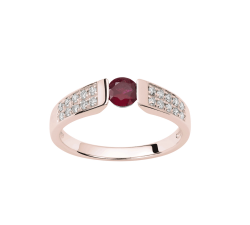 Bague or rose 750/1000, rubis et diamants by Stauffer