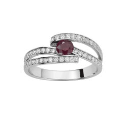 Bague or gris 750/1000, rubis et diamants by Stauffer