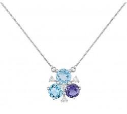 Collier or gris 375/1000, topaze bleue, iolite et diamants by Stauffer