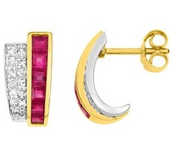 Boucles d'oreilles or jaune 750/1000, rubis et diamants by Stauffer