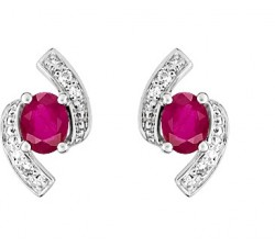 Boucles d'oreilles or gris 750/1000, rubis et diamants by Stauffer