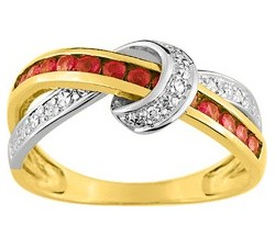 Bague or bicolore 750/1000, rubis et diamants by Stauffer