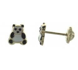 Boucles d'oreilles panda or jaune 375/1000 et laque by Stauffer