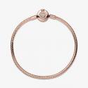 Bracelet Maille Serpent O Couronné Scintillant Pandora Moments en Pandora Rose 589046C01-17