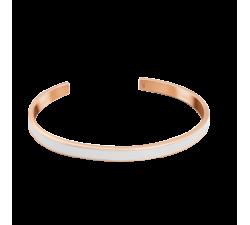 Bracelet jonc femme Symphony Acier doré rose Pierre Lannier Blanc BJ04A5418