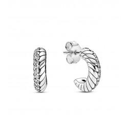 Boucles d'oreilles Créoles à motif de chaîne de serpent pavé en Argent 925/1000ᵉ Pandora 299091C01