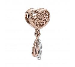Charm Attrape-rêves Pandora Rose Coeur Ajouré Deux Plumes 789068C00