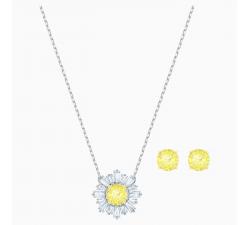Parure Sunshine, blanc, Finition mix de métal collier et boucles d'oreilles Swarovski 5480464