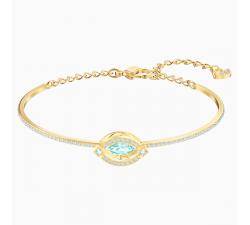 Bracelet-jonc Swarovski Sparkling Dance, vert, métal doré 5497476